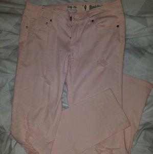 Baby pink indigo rein distressed jeans